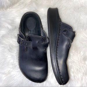 Tatami Birkenstock Black Leather Slip On Shoes